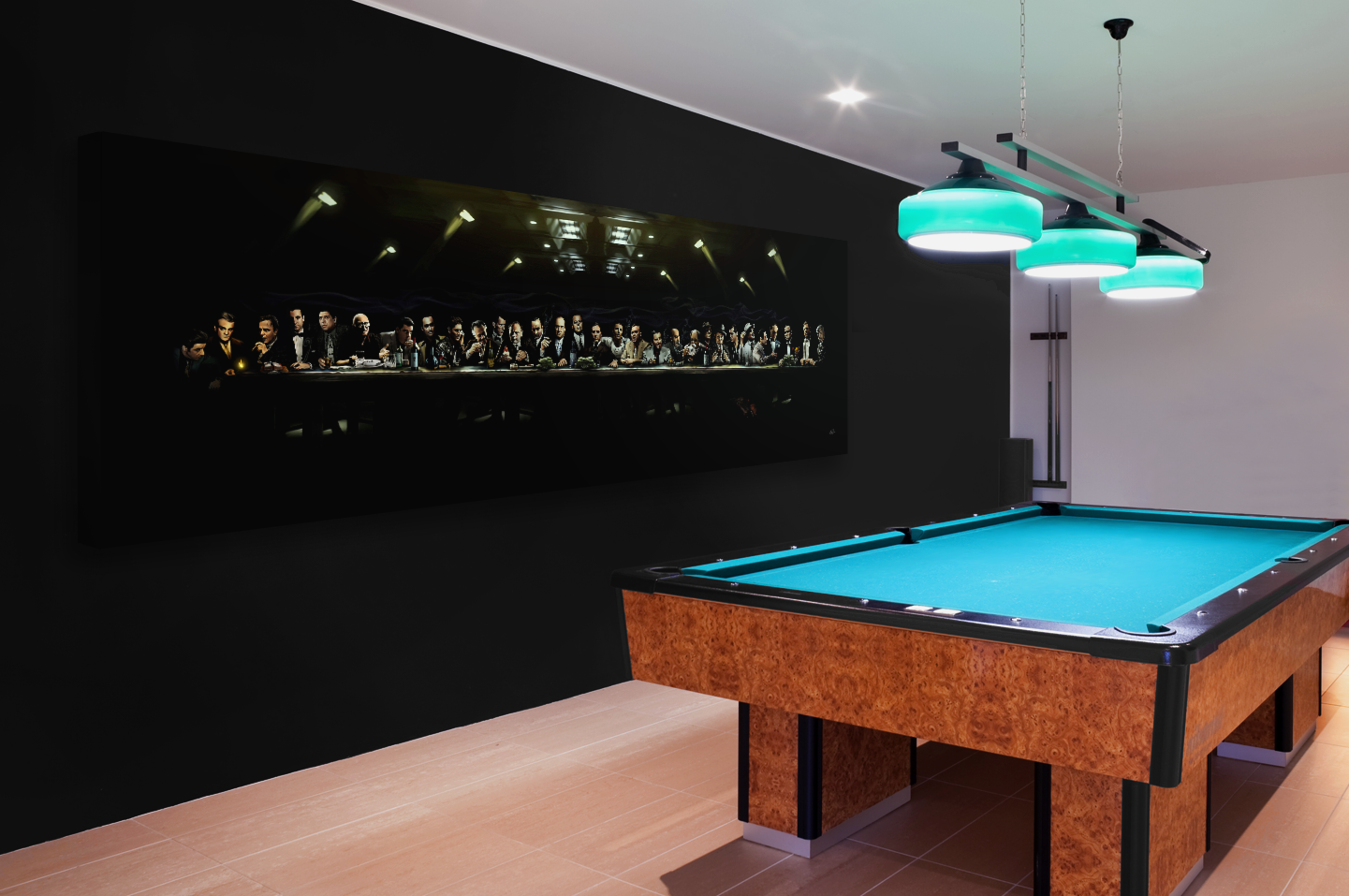 Mafia Pool Room - Mobster Painting